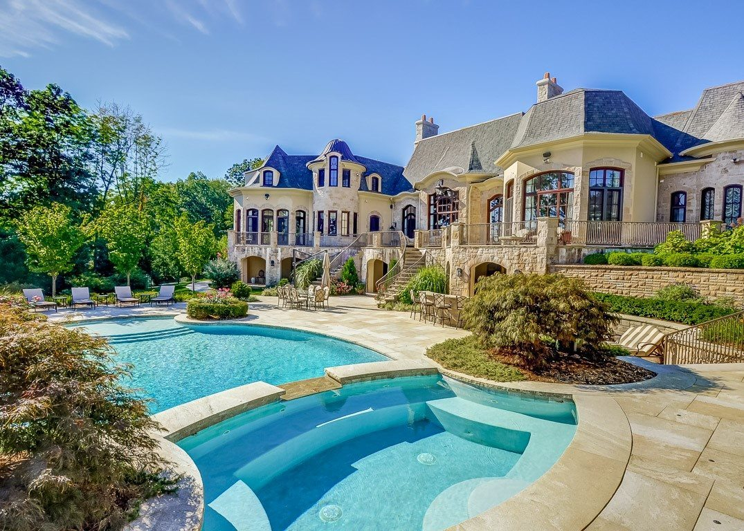 Custom Swimming Pool and Patio - Back of Stately Home